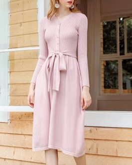 Chic Sahes Belt Sweater V Neck Knitted A Line Midi Dress