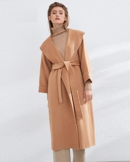 Elegant Long Woolen Back Split Overcoat With Belt Casual Coat