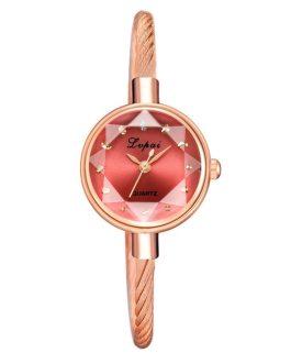 Fashion Geometric Glass Surface Bangle Wrist Watch