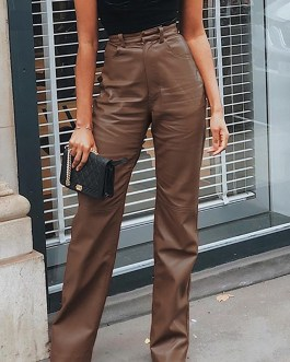 Fashion High Waist Solid PU Leather Straight Pants