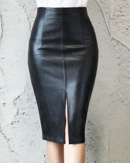 Fashion Office Wear Split Bodycon Midi Skirt