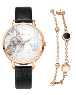 Fashion Removable Rhinestone Bracelet and Wrist Watch Set