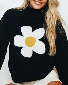 Floral Printed Vintage Batwing Long Sleeve Sweater
