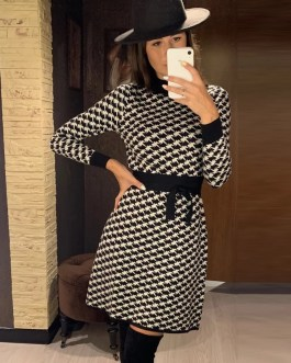Geometric Slim Knot Sashes A-line Houndstooth Sweater Dress