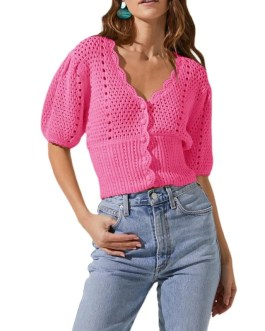 Hollow Out Puff Sleeve Single-breasted Short Sweater