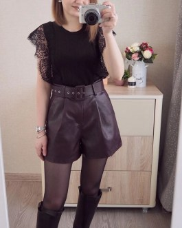Knitted O-neck Solid Fashion Sleeveless Chic Lace Tops