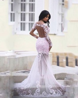 Lace Appliques Backless Mermaid Formal Prom Gowns