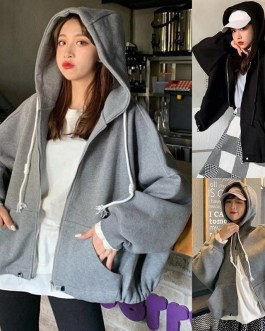Letters Print Hooded Long Batwing Sleeve Sweatshirts Coat