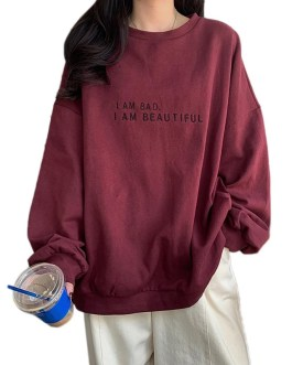 Letters Print O Neck Pullovers Sweatshirts