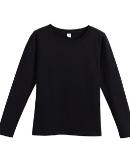 Long Sleeve Cotton Solid Top Soft T-shirt