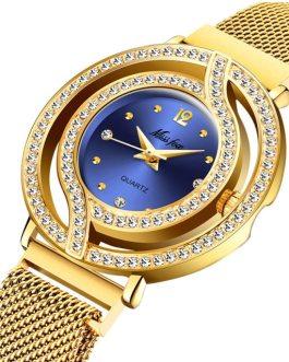 Luxury Bling Diamond Waterproof Stainless Steel Wristwatch