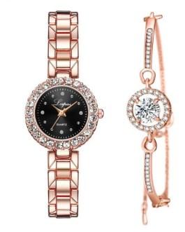 Luxury Diamond Jewelry Bracelet And Wrist Watch Set