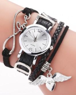 Luxury Heart Pendant Leather Belt Quartz Wrist Watch