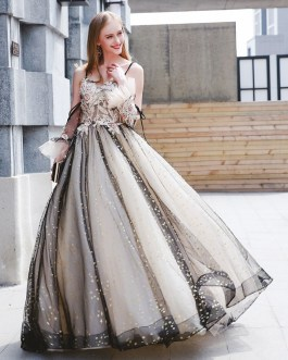 Luxury Tulle Ball Gowns Pearls Beaded Maxi Pageant Dress