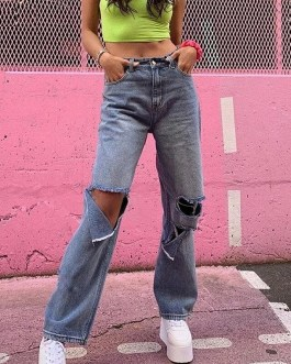 New Casual High Waist Loose Wide Leg Jeans