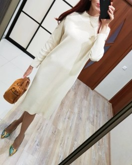 Oversized Long Straight Turtleneck Sweater Maxi Dress