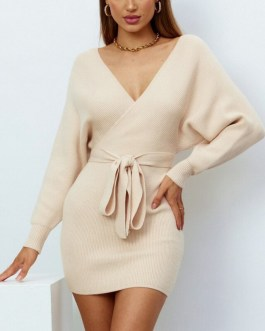 Sexy Deep V Neck Batwing Long Sleeve Sweater