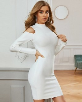 Sexy Hollow Out Solid Bodycon Club Party Mini Dress