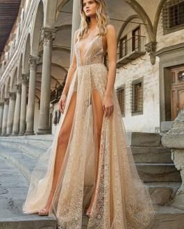 Sleeveless Backless Semi Floor Length Formal Split Evening Dress