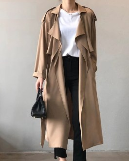 Solid Color Turn Down Collar Elegant Office Trench Coat