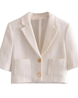 Solid Color Tweed Cropped Blazer Office Lady Jacket