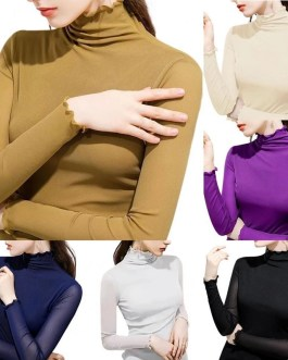 Solid Color Wavy Hem Turtle Neck Base Top Shirts