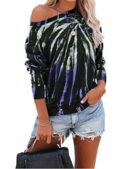 Tie Dye Print Hoodie Pullover O Neck Sweatshirts