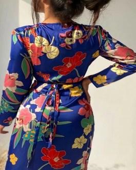 Vintage Floral Printed Sexy Midi A Line Dresses