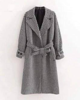 Vintage Houndstooth Batwing Sleeve Elegant Wool Coat