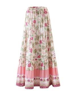 Bohemian Floral Print Pleated Long Skirt
