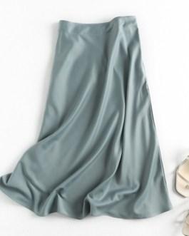 Elegant A-line Satin High Waist Party Skirt