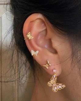 Elegant Cute Rhinestone Butterfly Drop Earrings