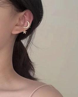 Elegant Rhinestone Star Moon Clip Earrings