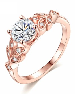 Fashion Crystal Leaf Engagement Rings