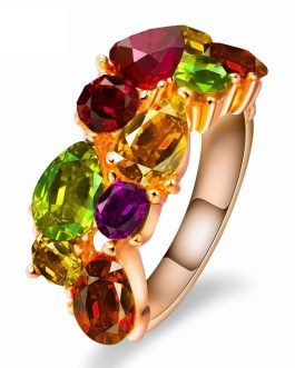 Fashion Glamour Colored Crystal Zircon Ring
