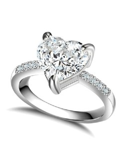 Heart Crystal Engagement Ring