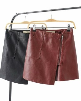 Sexy Short Faux Leather Solid Mini Skirt