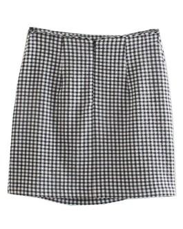Vintage Plaid Printed Ruffled Bow Tie Mini Skirts
