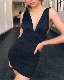Sexy Elastic Pleated Bodycon Mini Dress