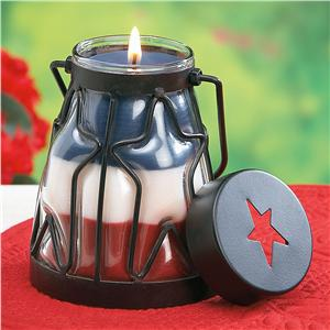 red white blue candle