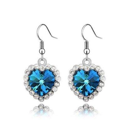 Swarovski Elements Crystal Love Heart Of The Ocean Titanic Earrings