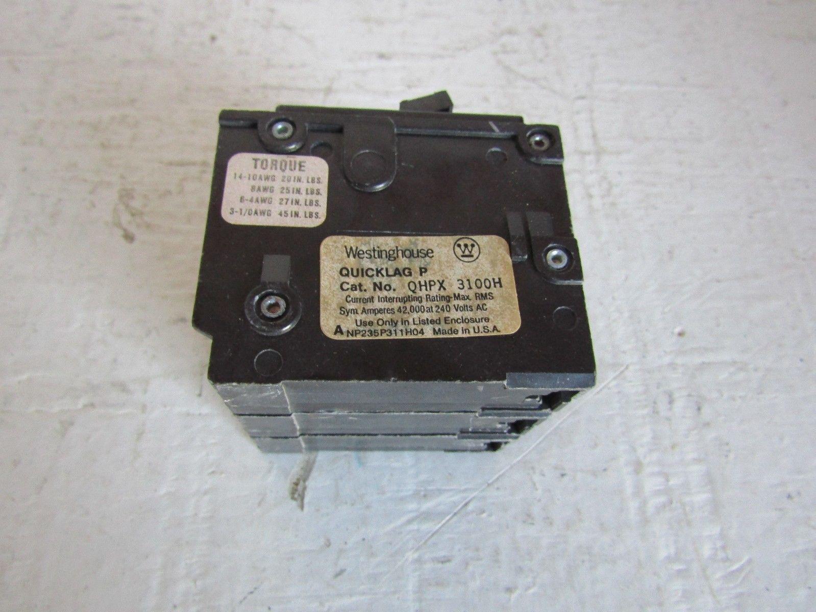 Cutler Hammer Qhpx H Quicklag 3 Pole 100 Amp 240 Volt 42k Plug In Breaker