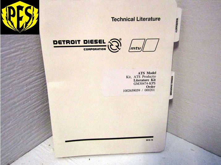 DETROIT DIESEL WIRING DIAGRAM MANUAL GM30474-KPS ATS MODEL ...