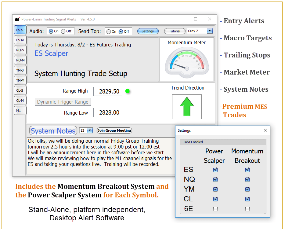 Power Emini Desktop Alert Software screenshot