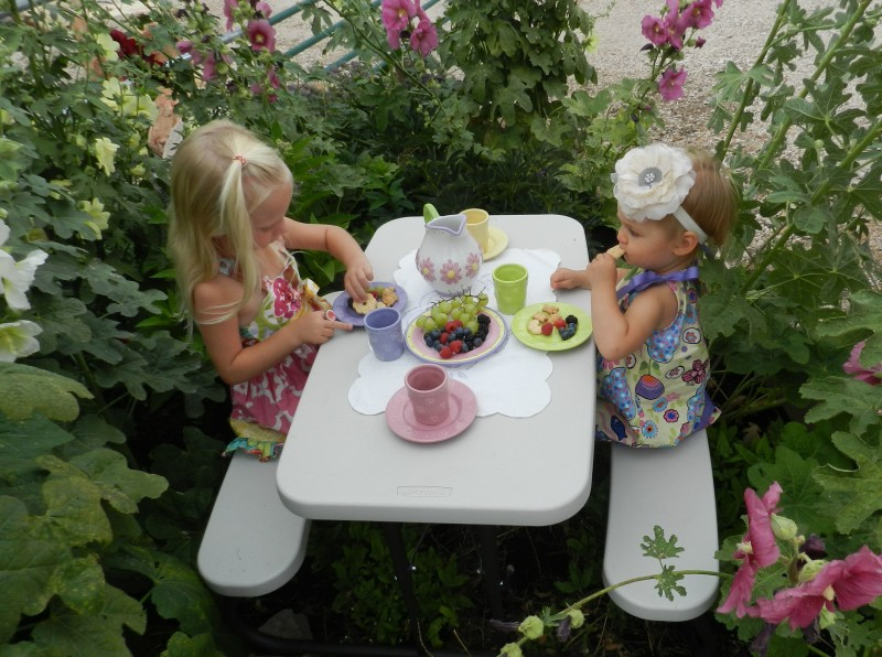 tea party in a children's garden