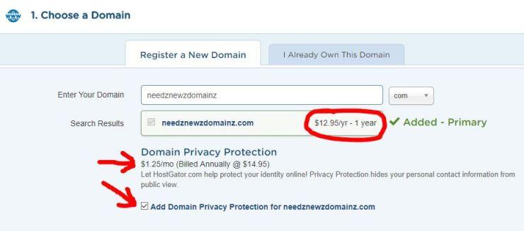 Hostgator domain register
