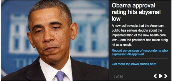 You know things are bad when this is the PuffHo front page pic of Obama.