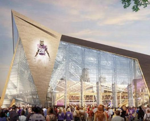 An architect's rendering of the new Vikings stadium