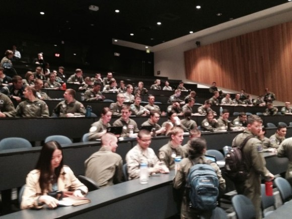 Air Force Academy cadets filing in for my lecture last month.