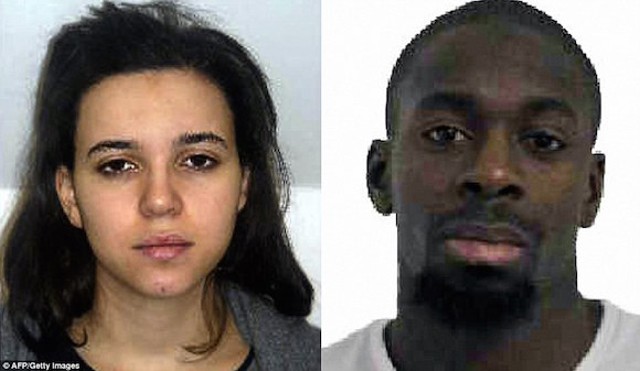 Terrorist Amedy Coulibaly (R) and accomplice Hayat Boumeddiene (L)